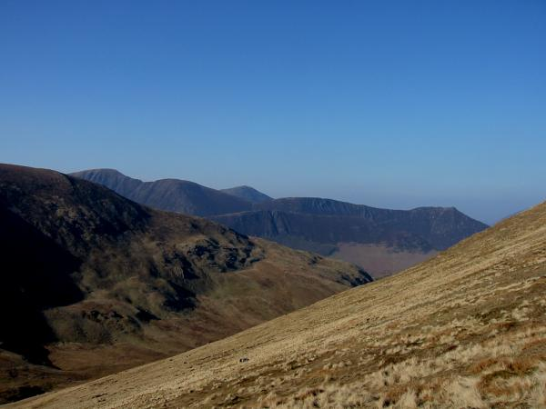 The Eel Crag, Sail, Scar Crags and Causey Pike ridge with Grisedale Pike behind and Ard Crags in front from the climb up Hindscarth