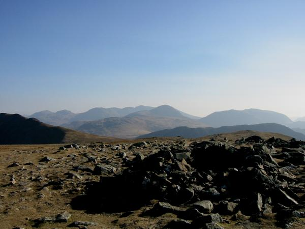 Bowfell, Esk Pike, Great End, Ill Crag, Broad Crag, Scafell Pike, Great Gable and Kirk Fell from Hindscarth's summit