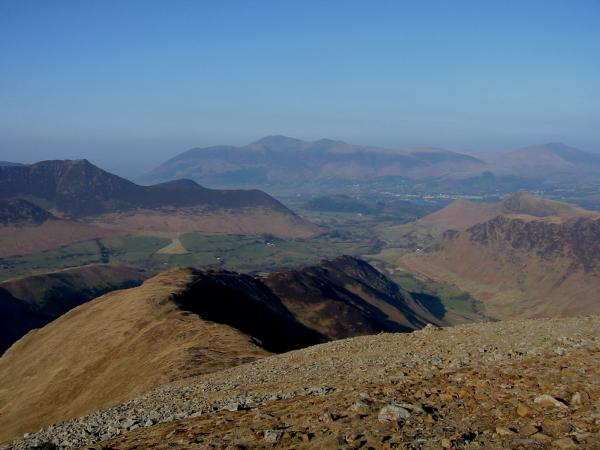 The view north down the ridge to Scope End with Skiddaw in the distance