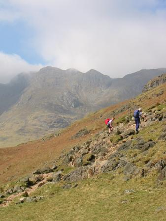 Ascending The Band with Crinkle Crags behind