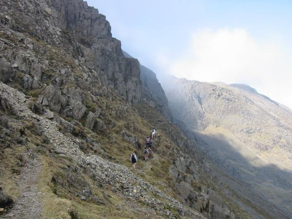 The start of the climbers' traverse
