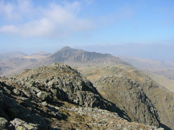 Looking back along the Crinkle Crags ridge to Bowfell