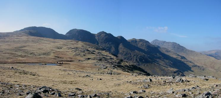 Crinkle Crags and Bowfell from Great Knott