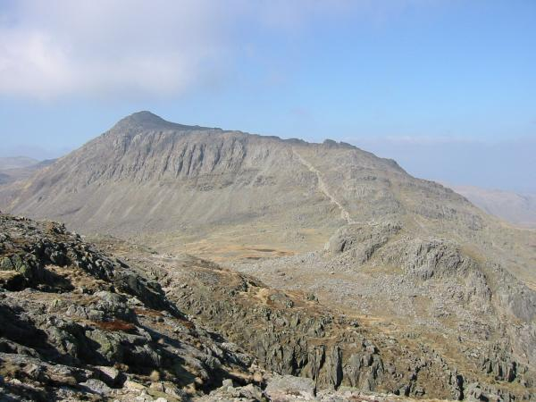 Bowfell from the route up Crinkle Crags