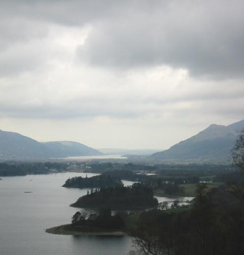 Derwent Water and Bassenthwaite Lake from the climb up Cat Gill