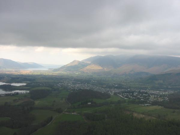 Keswick and the Skiddaw fells from Walla Crag summit