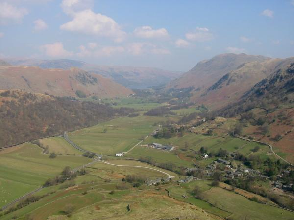 Patterdale with Ullswater in the distance from the north ridge of Hartsop Dodd