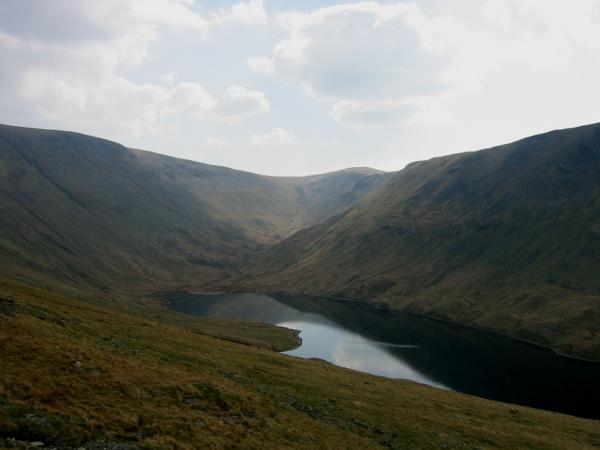 Hayeswater with Thornthwaite Crag to the right of centre on the skyline from the descent off The Knott