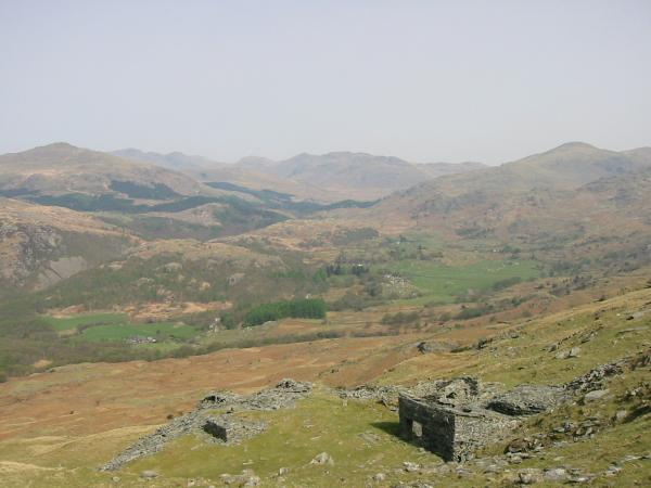 Harter Fell, the Scafells, Esk Pike, Bowfell, Crinkle Crags and Grey Friar from Caw Quarry