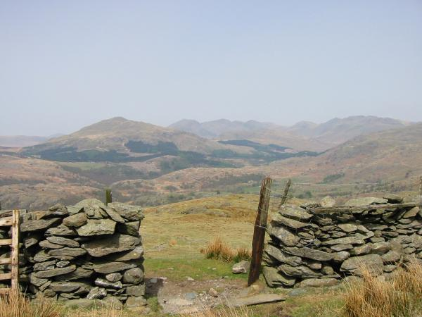 Harter Fell, the Scafells, Esk Pike, Bowfell and Crinkle Crags from the top of the old drove road