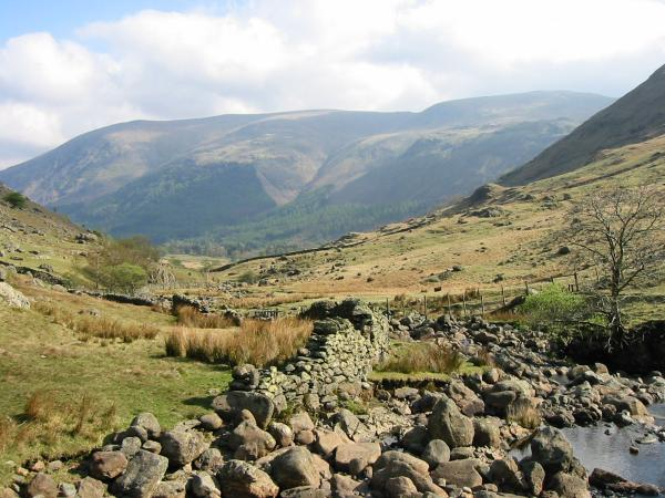 The view down Wythburn Valley with Helvellyn and Nethermost Pike ahead