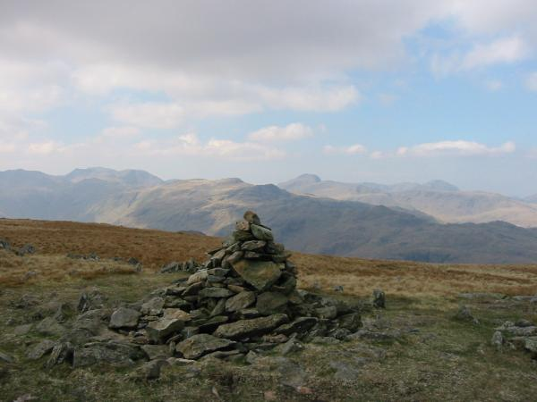The view west to Great Gable from Ullscarf's summit