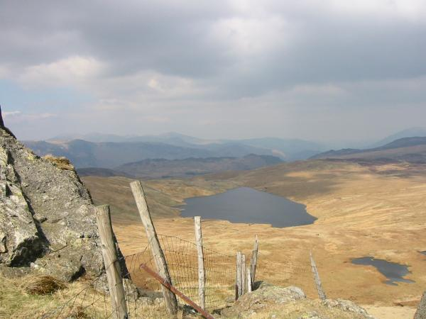 Looking down on Blea Tarn from Standing Crag