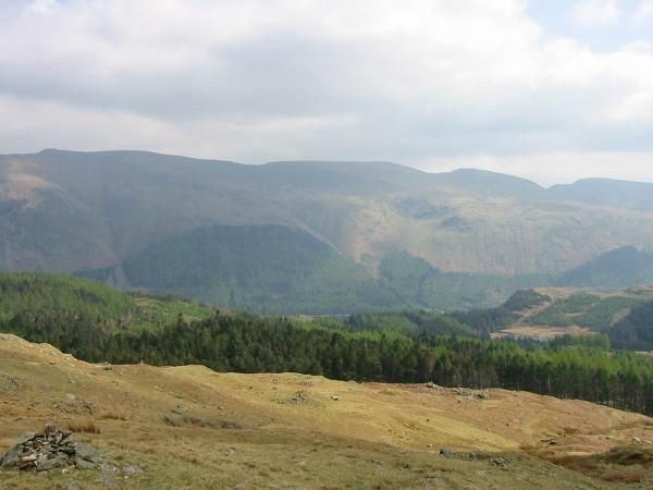 The Helvellyn ridge from the descent to Harrop Tarn