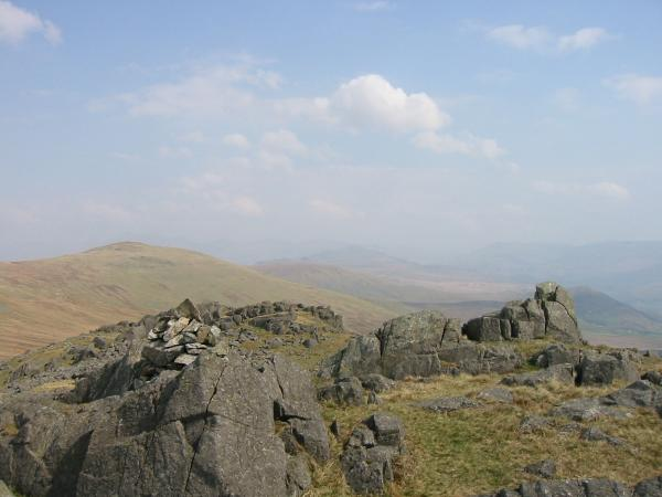 Whitfell from Buck Barrow summit. The high fells were lost in the haze