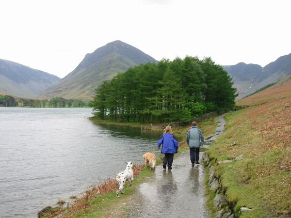 Heading along the lakeside path with Fleetwith Pike ahead