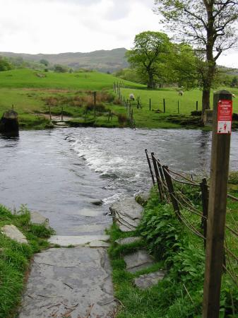 Stepping stones across the River Rothay (we did not go that way)