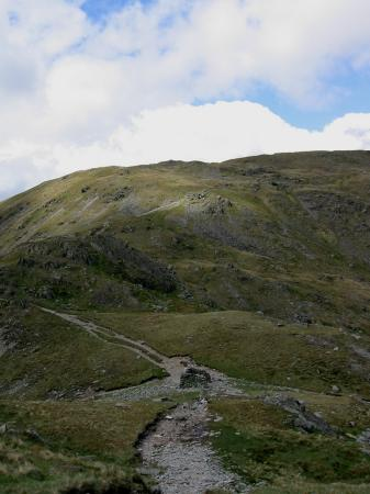 Looking back down on Nan Bield Pass from the path up Harter Fell