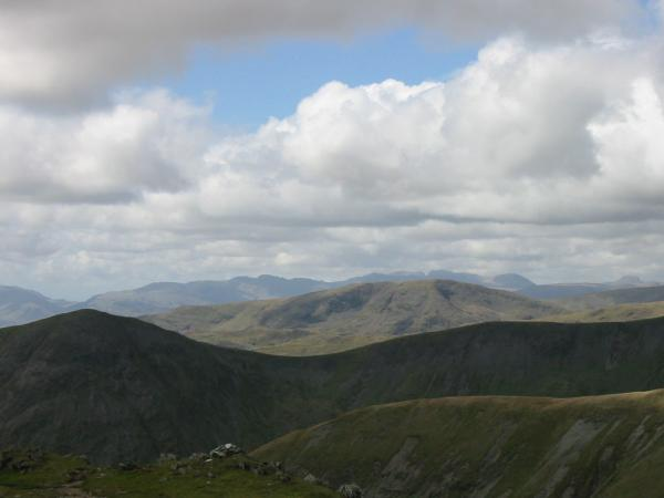 Froswick and Red Screes with Crinkle Crags, Bowfell, the Scafells, Great End and Great Gable in the far distance