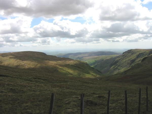 South to Longsleddale with Tarn Crag on the left and Goat Crag on the right from the route up Branstree