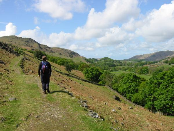 Starting up the path up Harter Fell with views down Eskdale