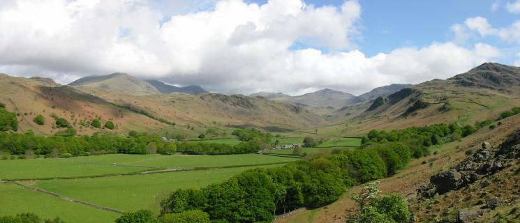 Upper Eskdale with Scafell in cloud (left) and Bowfell (centre)