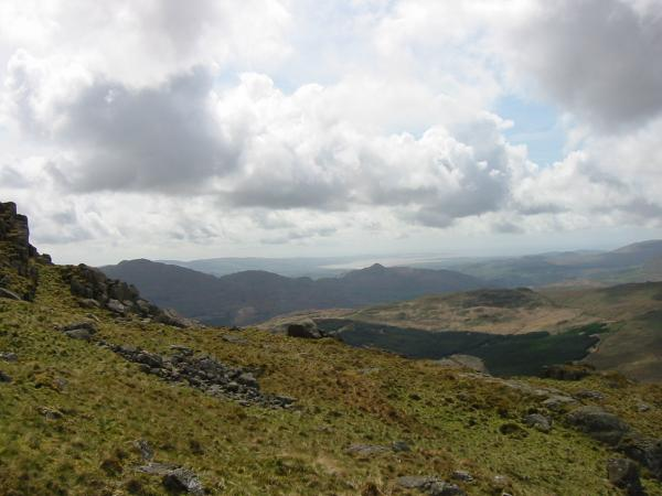 Caw (left) and Stickle Pike (centre) with the Duddon Sands in the distance