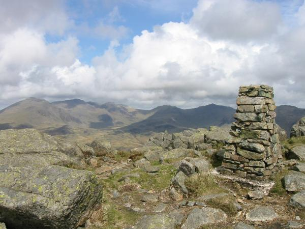 The Scafells, Great End, Esk Pike and Bowfell from Harter Fell's summit