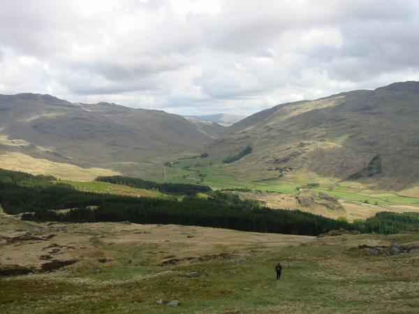 Looking down on Wrynose Bottom