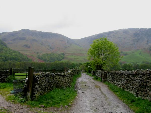 The track out of Rosthwaite. High Scawdel on the left and High Spy on the right