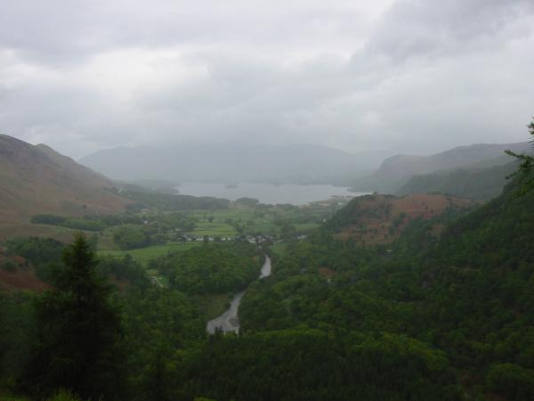 Derwent Water from Castle Crag summit with Skiddaw lost in cloud