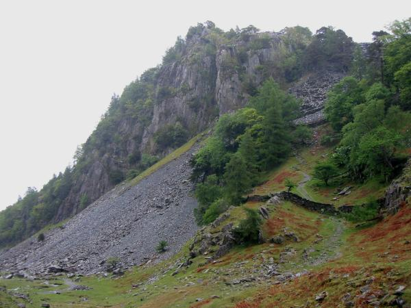 The crags on the west side of Castle Crag