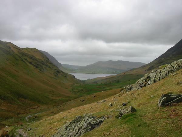The view back down the valley towards Loweswater, Low Fell and Crummock Water
