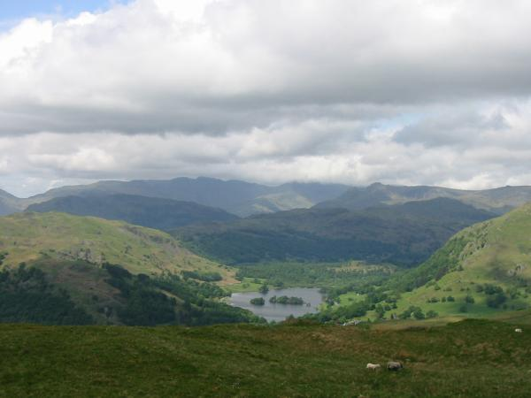 Rydal Water with Crinkle Crags and Bowfell (top in cloud) beyond