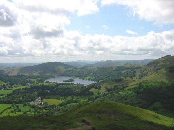 Grasmere, village and lake from Helm Crag