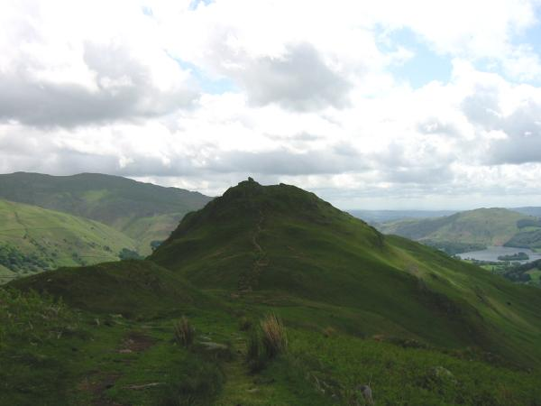Looking back to Helm Crag from the route up Gibson Knott