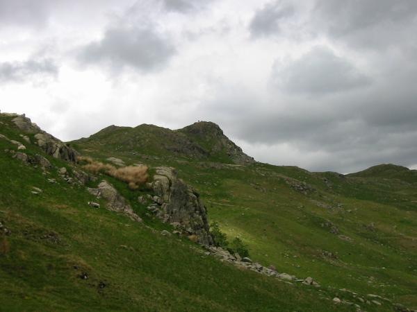Looking back up at Calf Crag summit