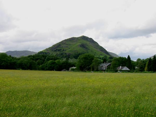 Helm Crag from the edge of Grasmere village