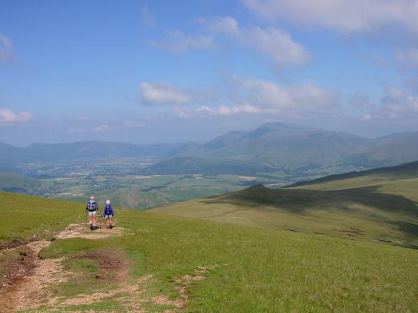 Walkers heading for Calfhow Pike from Great Dodd