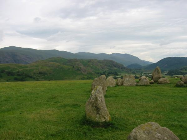 High Rigg with the Helvellyn ridge behind from Castlerigg Stone Circle
