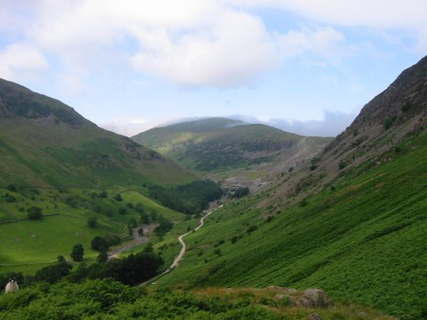 Looking up Glenridding from the ascent of the rake to the saddle between Glenridding Dodd and Sheffield Pike