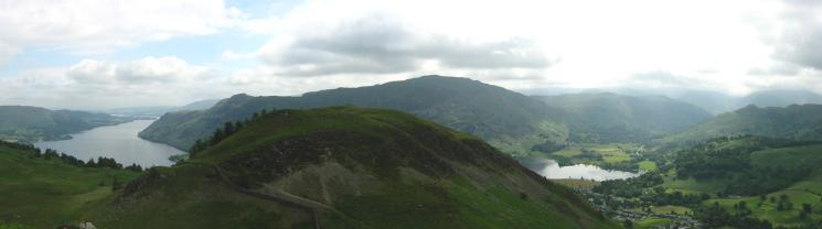 Looking back to Glenridding Dodd with Place Fell behind from the ascent of Sheffield Pike's south east ridge