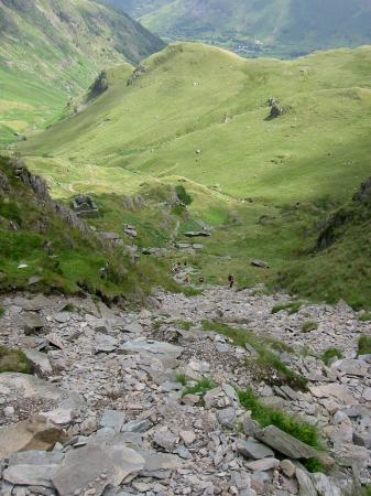 Looking back down the scree