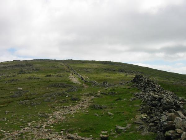 Having gained the ridge between Hart Crag and Dove Crag just follow the wall to the summit