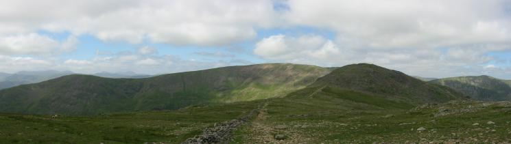 Great Rigg, Fairfield and Hart Crag from the route up Dove Crag