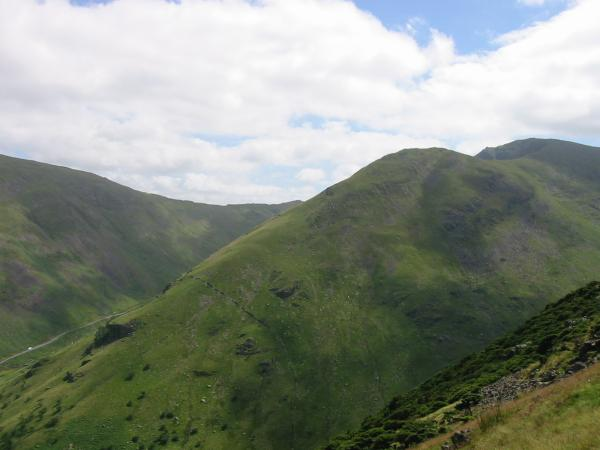 The Kirkstone Pass road, Middle Dodd and Red Screes from the summit