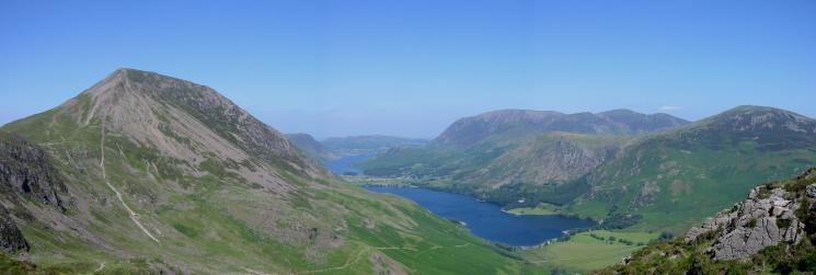 Gamlin End, High Crag and the Buttermere valley from the ascent of Haystacks