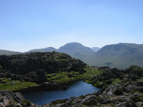 Green Gable, Great Gable and Kirk Fell from Haystacks' summit tarn