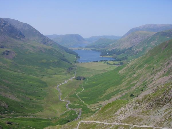 Warnscale Bottom and Buttermere from one of the old quarry buildings