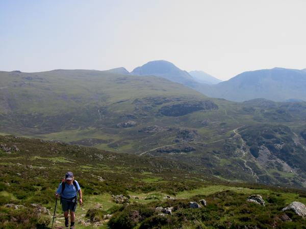 Ascending Fleetwith Pike from Dubs Quarry with Great Gable behind